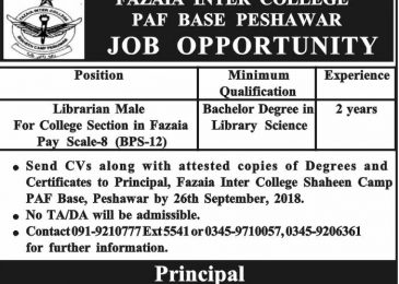 Fazaia Inter College Peshawar Jobs 2018 PAF Base latest For Librarian