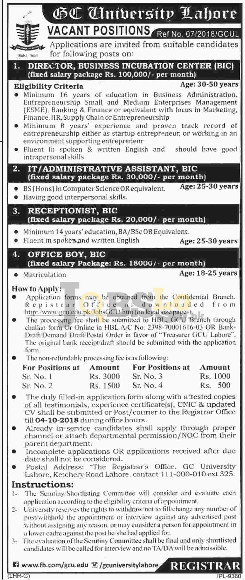 GC University Lahore Jobs 2018 Application Form Available Online