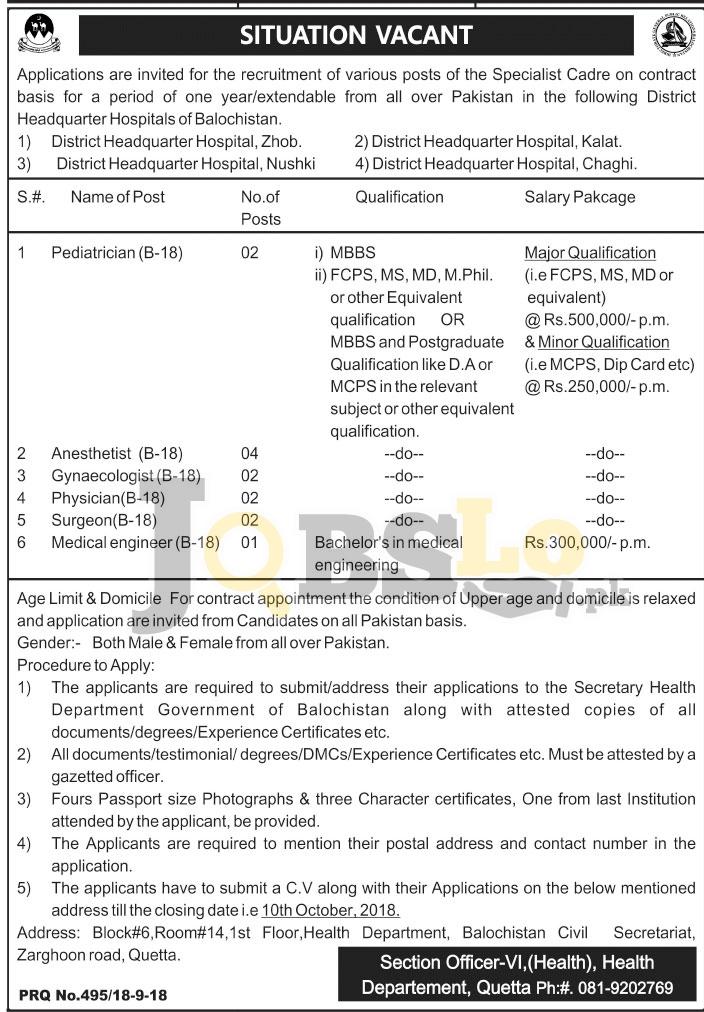 Health Department Balochistan Jobs 2018 latest Career Vacancies