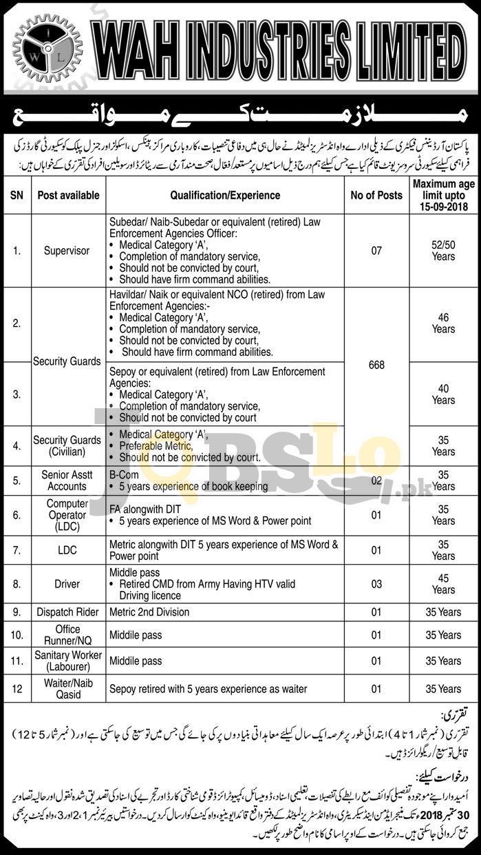 Pakistan Ordnance Factories POF Jobs 2018 Wah Industries For Supervisor / Security Guards