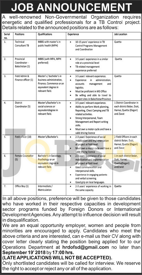 Jobs in National TB Control Program Sep 2018 Quetta For Technical Consultant