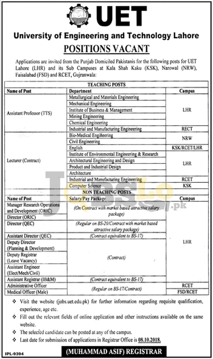 UET Lahore Jobs September 2018 Application Form Download | Teaching & Non Teaching Staff