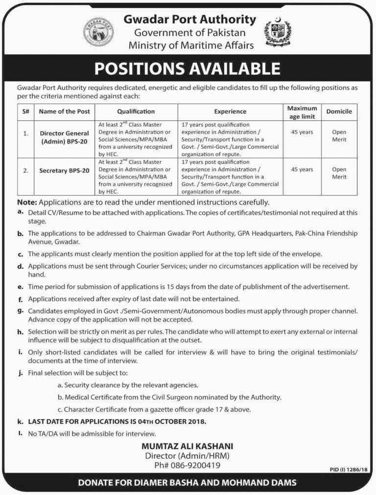 Gwadar Port Authority GPA Jobs 2018 For Director General / Secretary | Ministry of Maritime Affairs