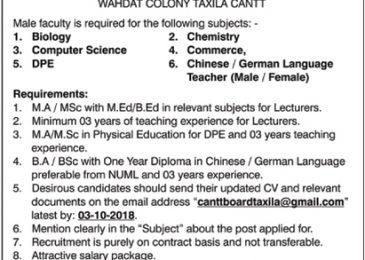 Cantonment Board Taxila Jobs 2018 For Male Faculty | CB Public School & Boys College