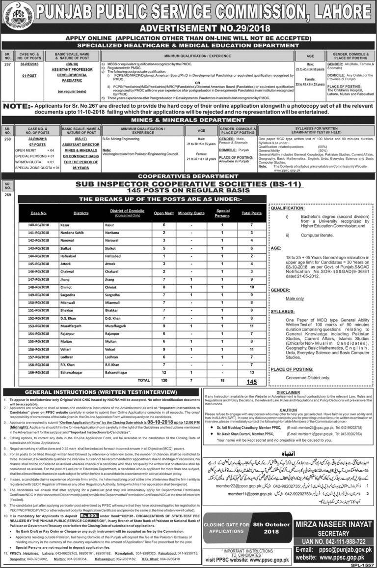 Sub Inspector Cooperative Society PPSC Jobs 2018 Punjab Latest