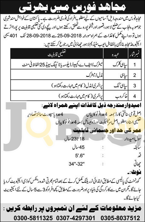 Mujahid Force Jobs September 2018 Soldiers in Pak Army Latest Advertisement
