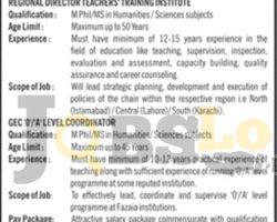 Jobs in Fazaia School & Colleges Peshawar 23-Sep-2018 For Regional Director Latest Vacancies