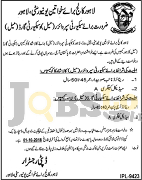 Jobs in Lahore College for Womens University 2018 Latest For Security Supervisor