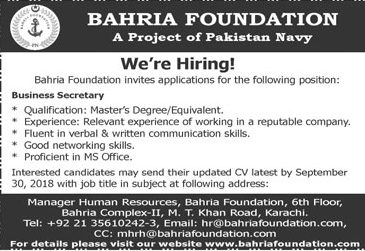 Pak Navy Jobs 2018 | Project Bahria Foundation Karachi For Business Secretary Latest