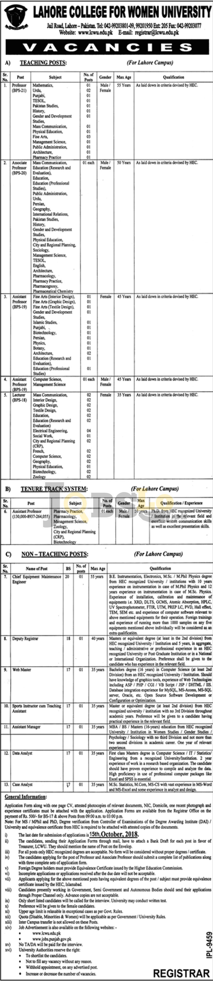 Lahore College For Womens University LCWU jobs Sep 2018 For Teaching & Non Teaching Staff