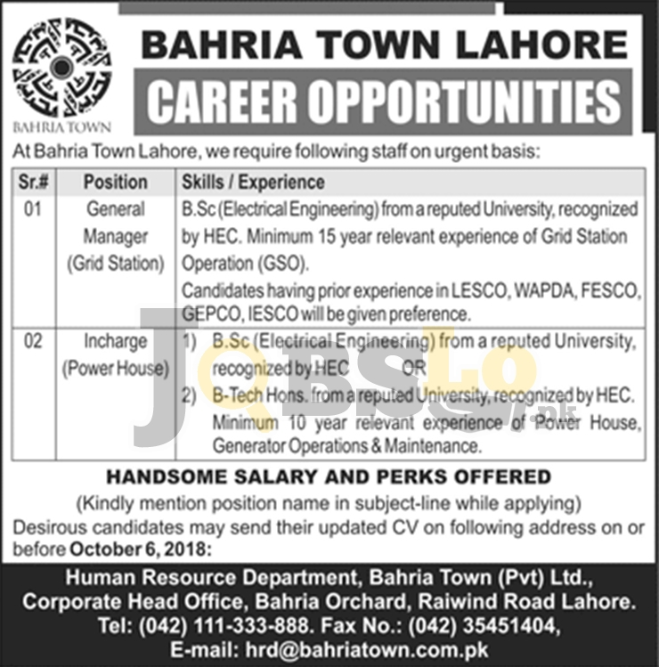 Bahria Town Lahore Jobs Sep 2018 Latest For General Manager/Incharge