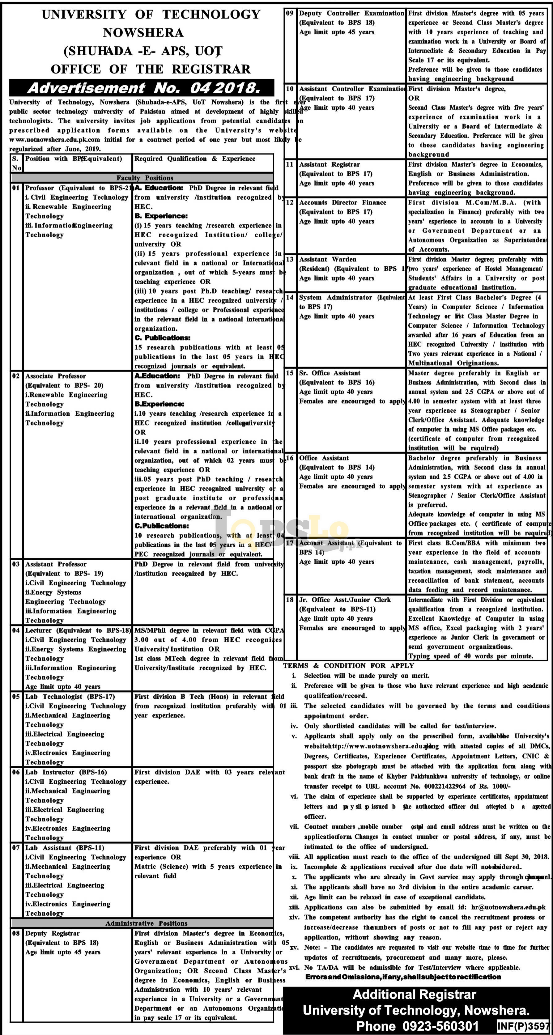 University of Technology Nowshera Job 2018 UOT Application Form Downlaod Latest Advertisement
