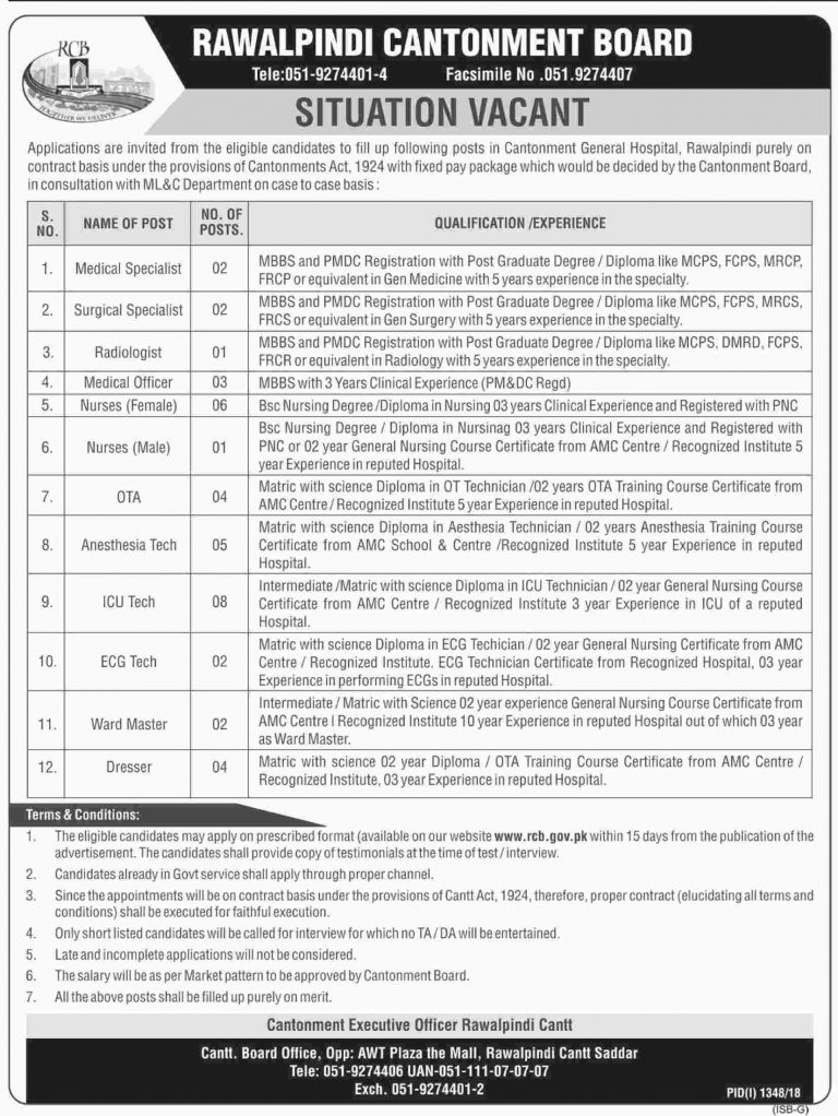 Cantonment Board Rawalpindi Jobs 2018 RCB Application Form Download For Nurses