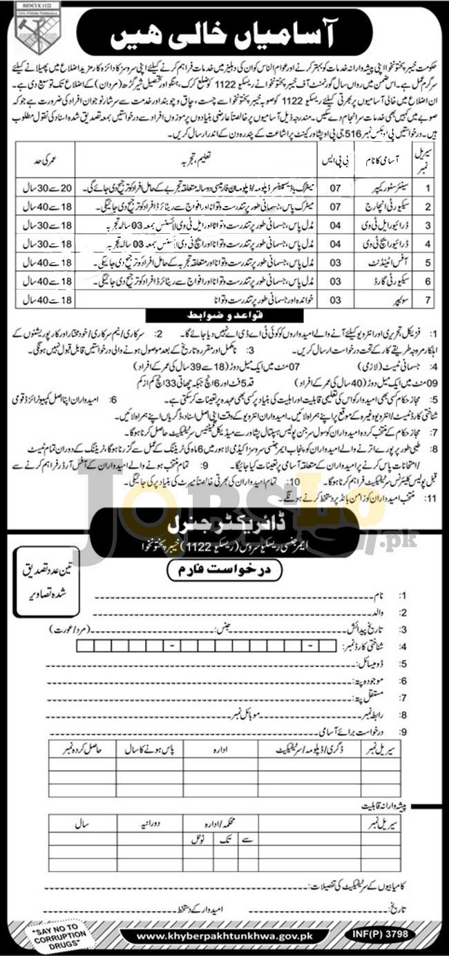 Rescue 1122 KPK Jobs 2018 For Latest Advertisement