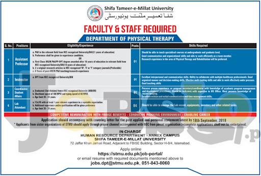 Jobs in Shifa Tameer-e-Millat University Islamabad Sep 2018 Apply Online Latest Vacancies