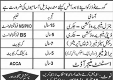 Gourmet Jobs in Lahore 2018 Apply Online Latest Vacancies Advertisement