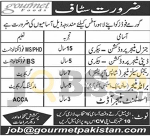 Gourmet Jobs in Lahore 2018 Apply Online Latest Vacancies Advertisement