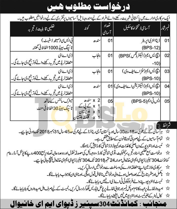 Pak Army 304 Spares Depot EME Jobs 2018 September Khanewal Latest