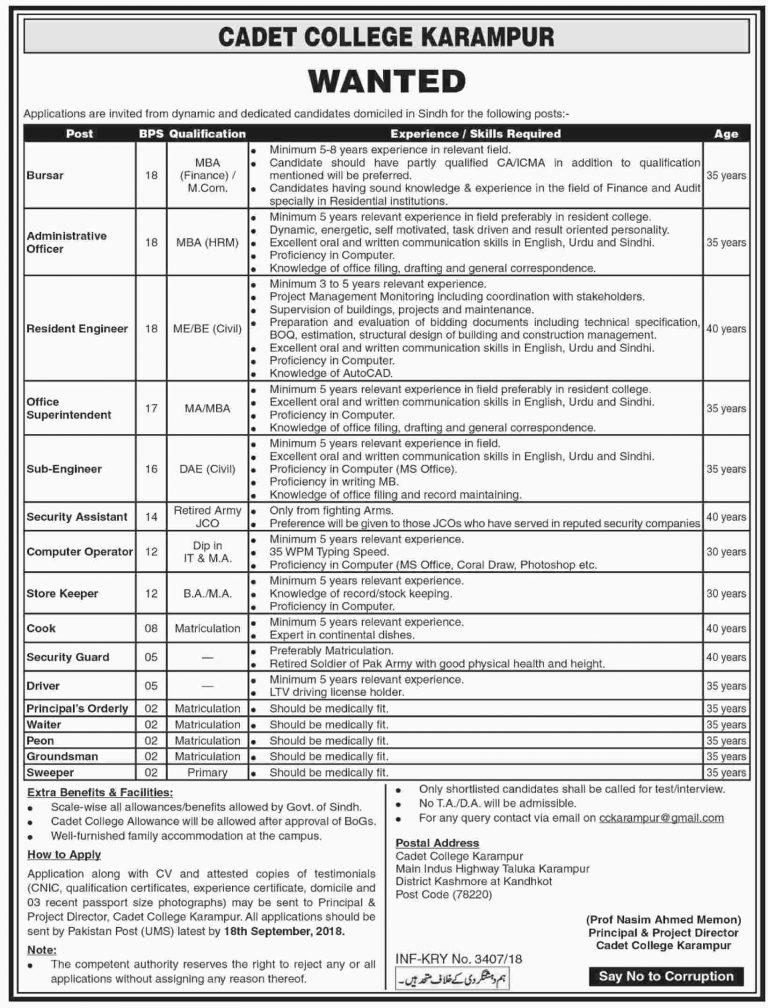Cadet College Karampur Jobs 2018 For Computer Operator