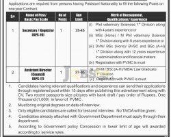 Pakistan Veterinary Medical Council PVMC Jobs Sep 2018 Latest Vacancies
