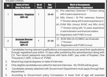 Pakistan Veterinary Medical Council PVMC Jobs Sep 2018 Latest Vacancies