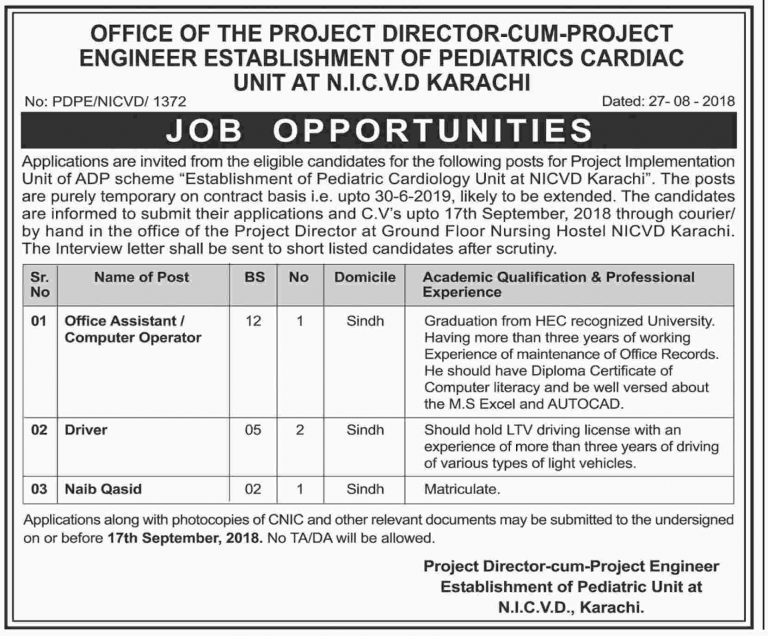 NICVD Karachi Jobs Sep 2018 Sindh For Computer Operator