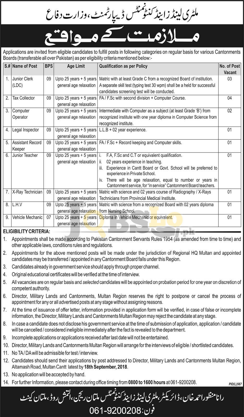 Military Land and Cantonment Department Jobs 2018 Multan Latest Advertisement
