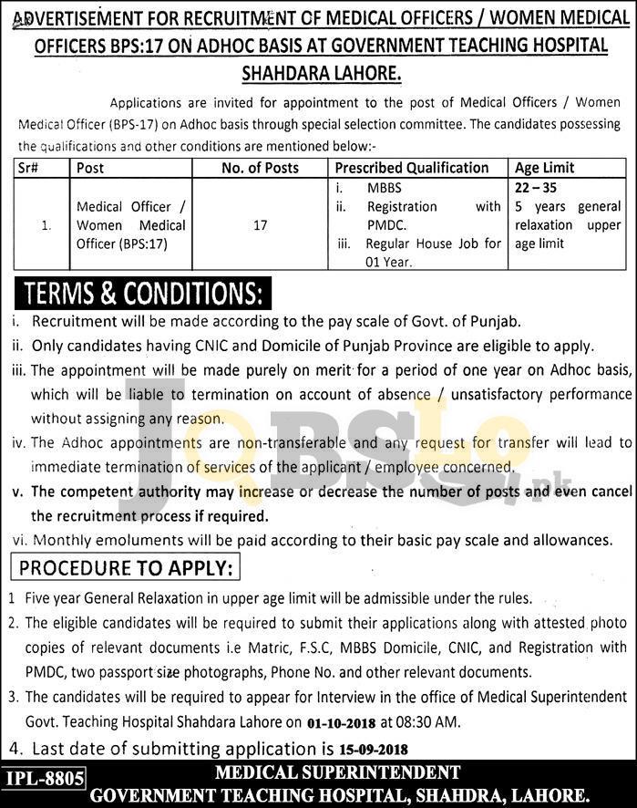 Govt Teaching Hospital Shahdara Lahore Jobs Sep 2018 For Medical Officer