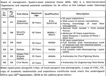 Jobs in Board of Management Quaid E Azam Industrial Estate Sep 2018 For Engineers