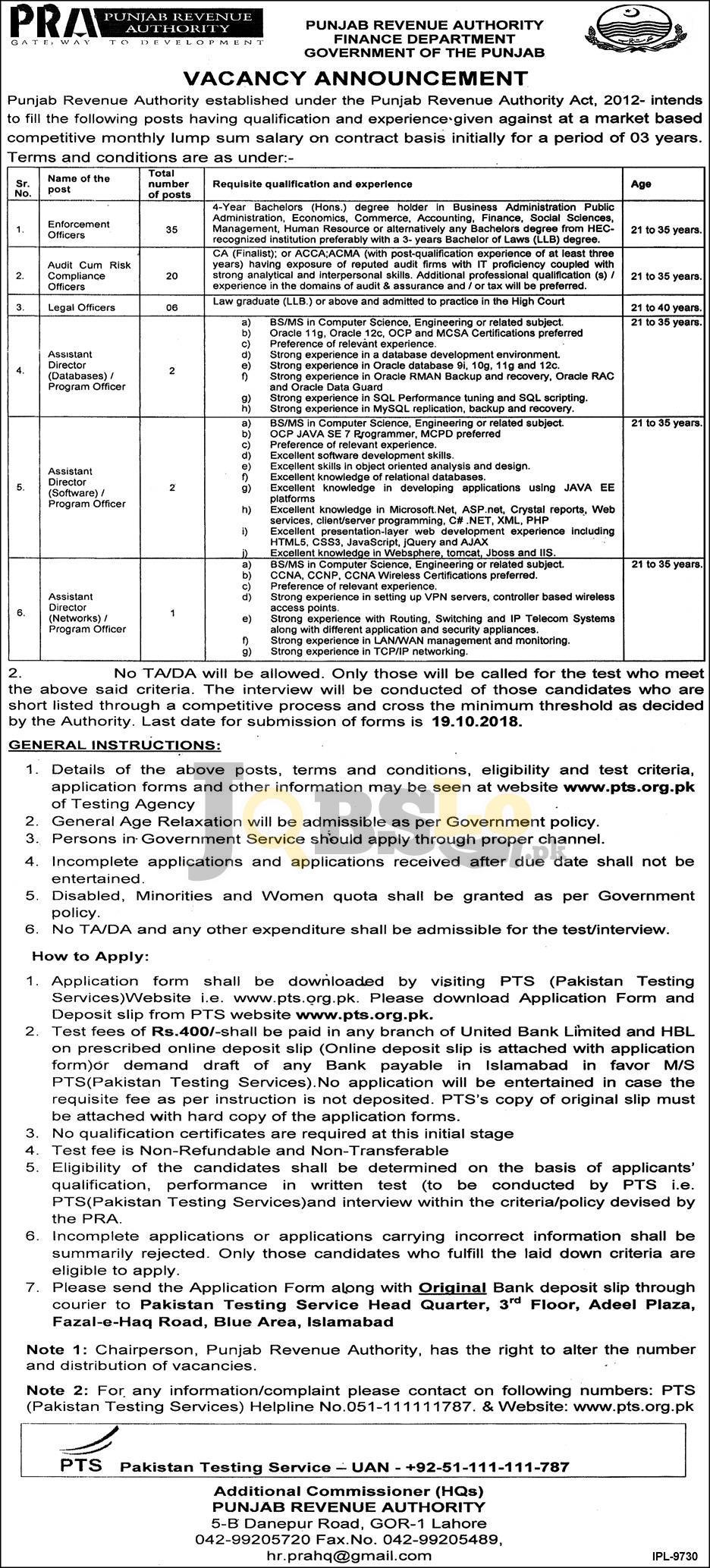 Punjab Revenue Authority PRA Jobs 2018 PTS Application Form Download