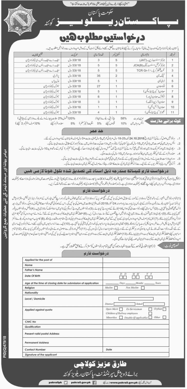 Pakistan Railway Quetta Division Jobs October 2018 Application Form Download Latest