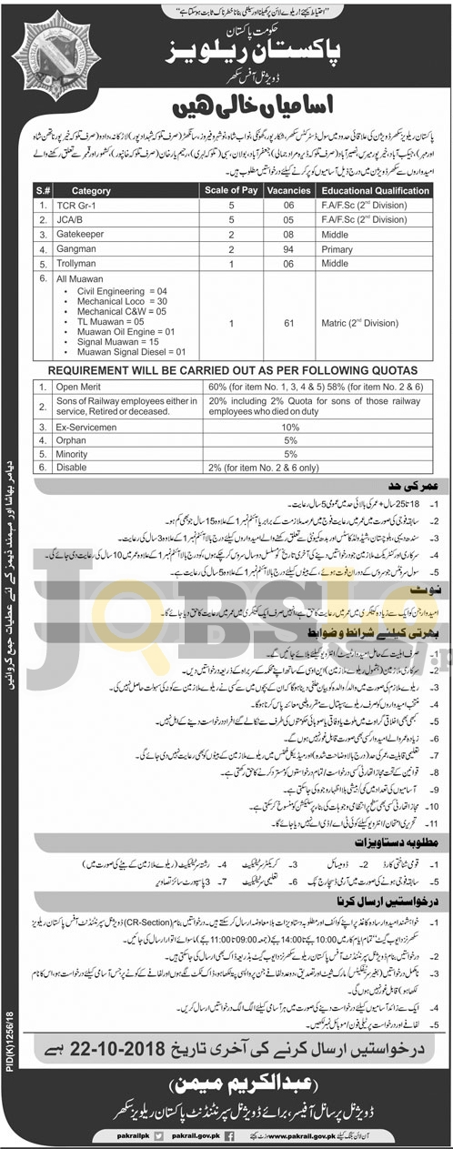 Pakistan Railway Jobs 2018 Divisional Office Sukkur Latest Advertisement