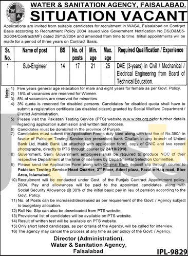 WASA Faisalabad Jobs 2018 PTS Application Form Download For Sub Engineer