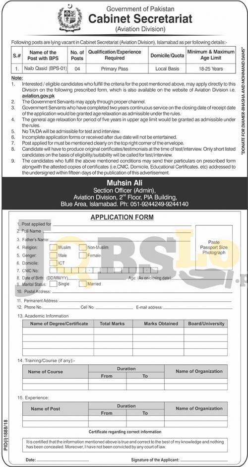 Cabinet Secretariat Jobs 2018 Government of Pakistan Application Form Download
