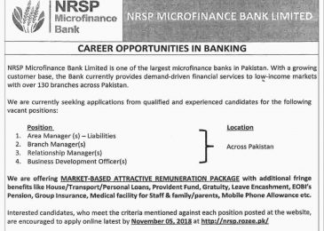 NRSP Microfinance Bank Jobs 2018 Apply Online Last Date Current Opportunities