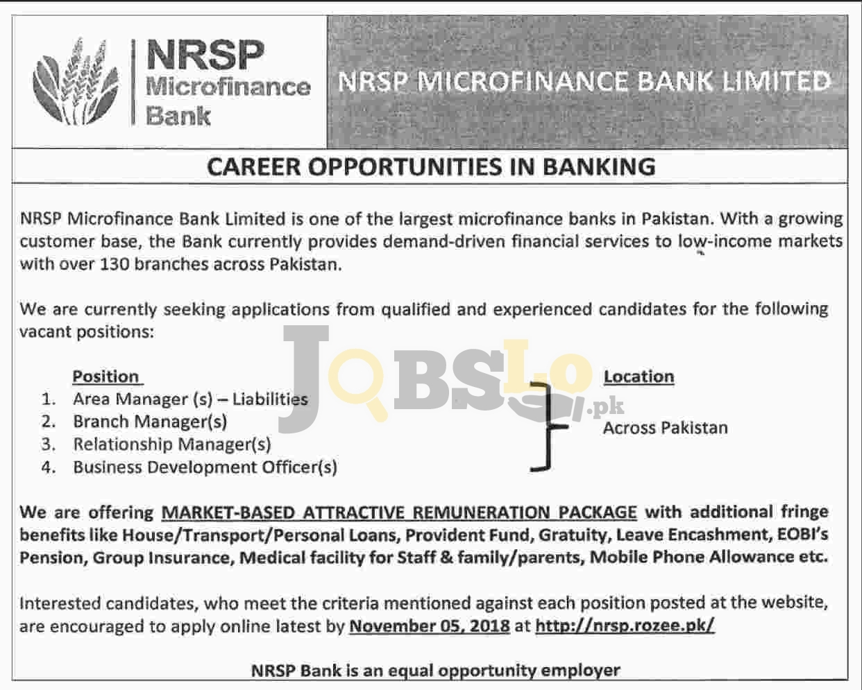 NRSP Microfinance Bank Jobs 2018 Apply Online Last Date Current Opportunities