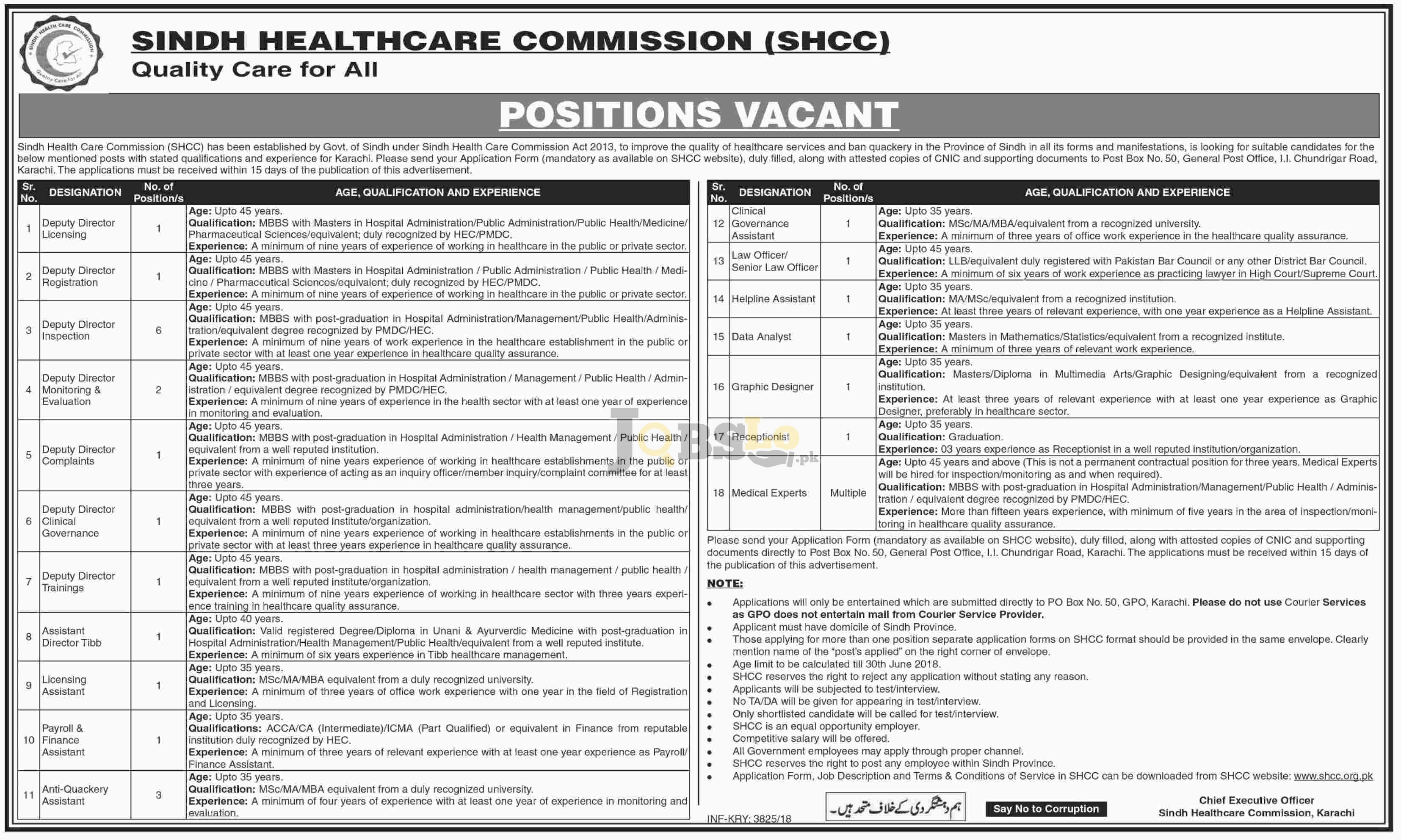 Sindh Healthcare Commission SHCC Jobs 2018 in Pakistan Latest Vacancies