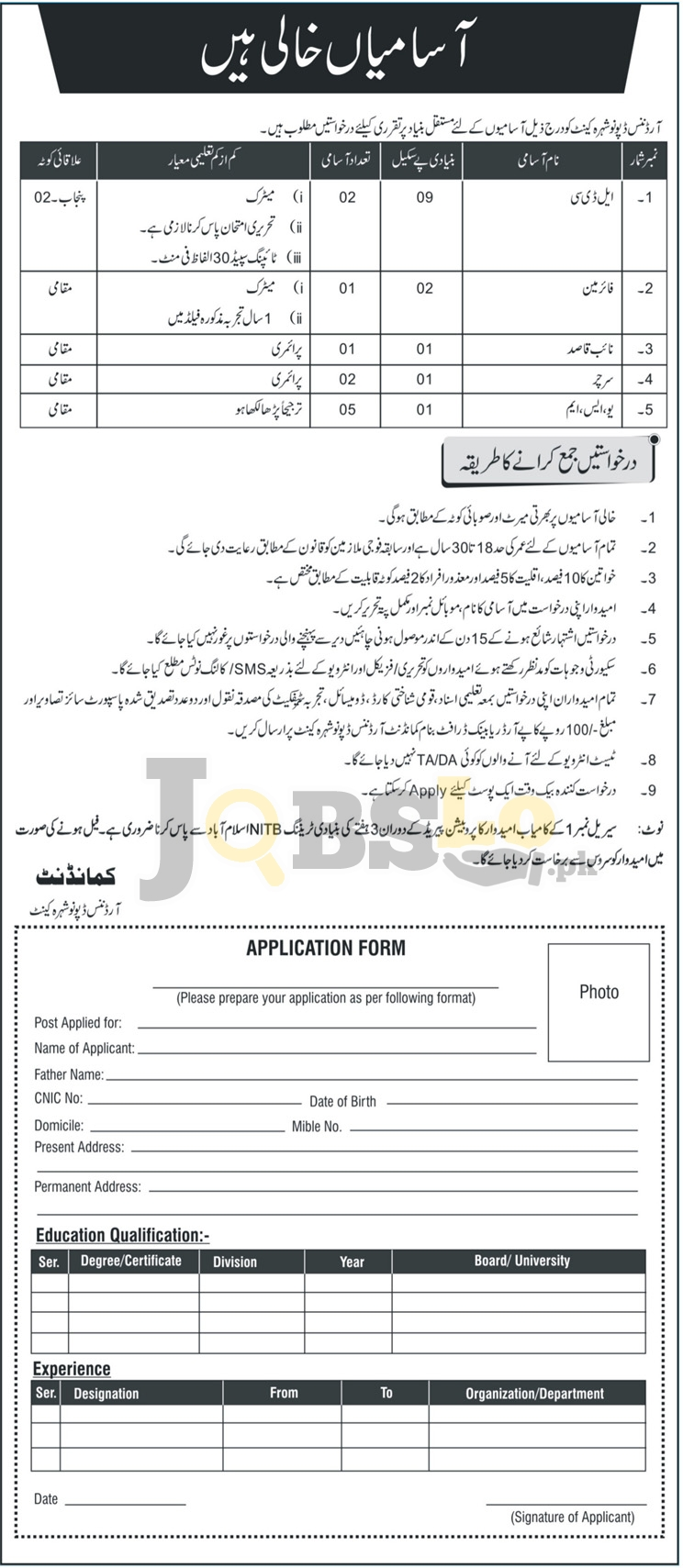 Ordnance Depot Jobs 2018 Pak Army Nowshera Latest Vacancies