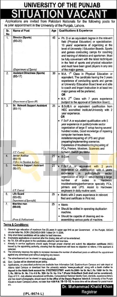 Punjab University Jobs 2018 PU Lahore Application Form Latest Advertisement