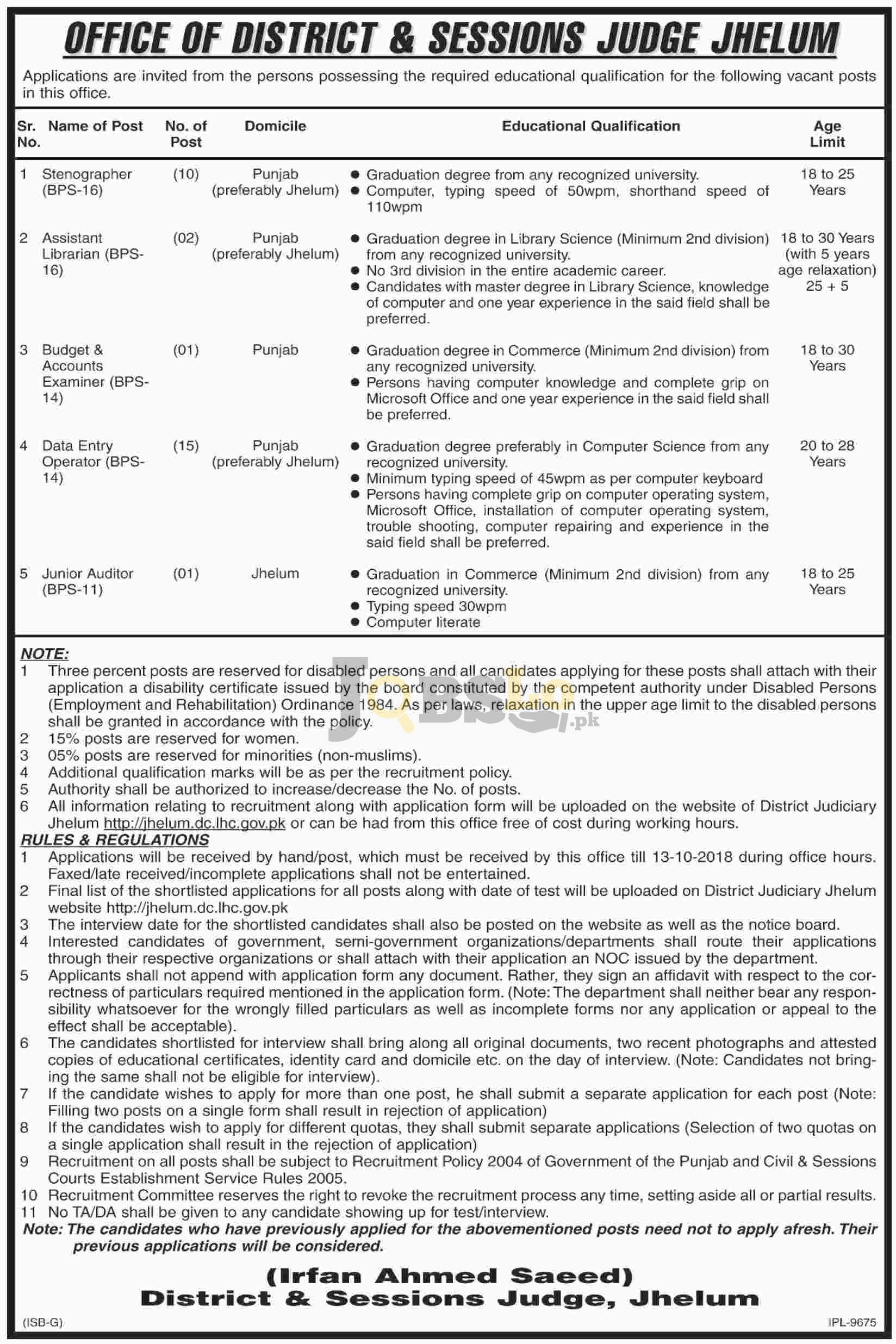District and Session Court Jhelum Jobs Oct 2018 Application Form Latest