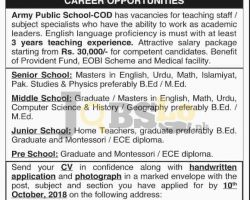 Army Public School COD karachi jobs 2018 Latest For Teaching Staff