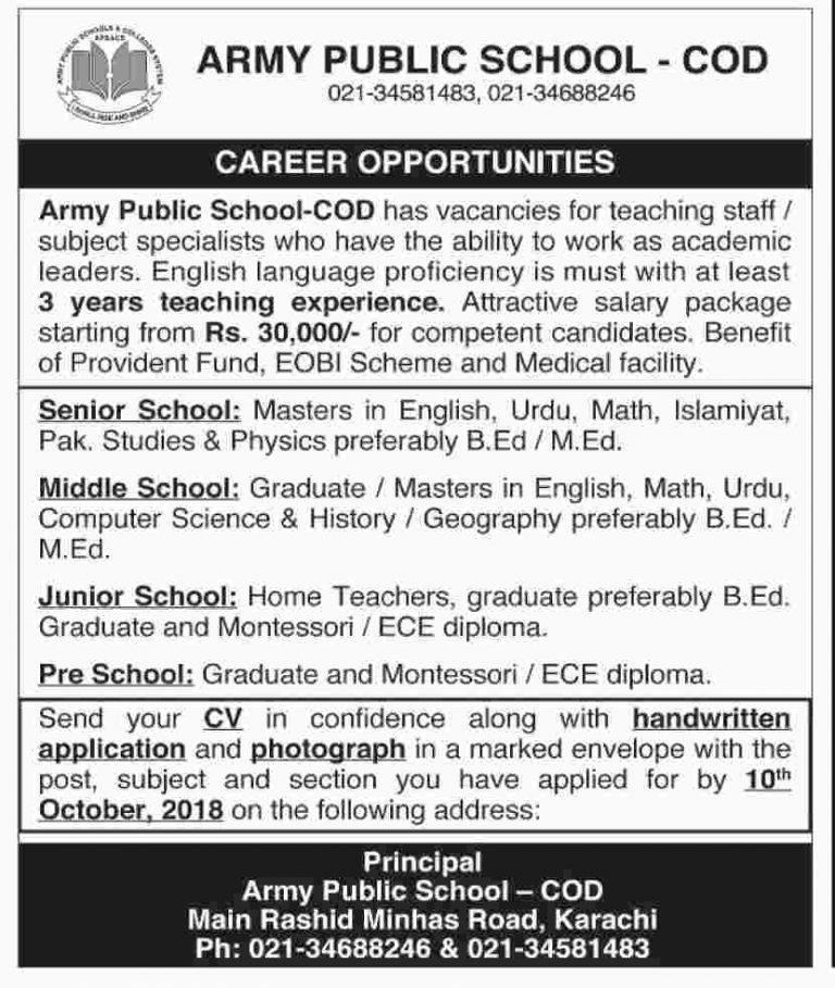 Army Public School COD karachi jobs 2018 Latest For Teaching Staff