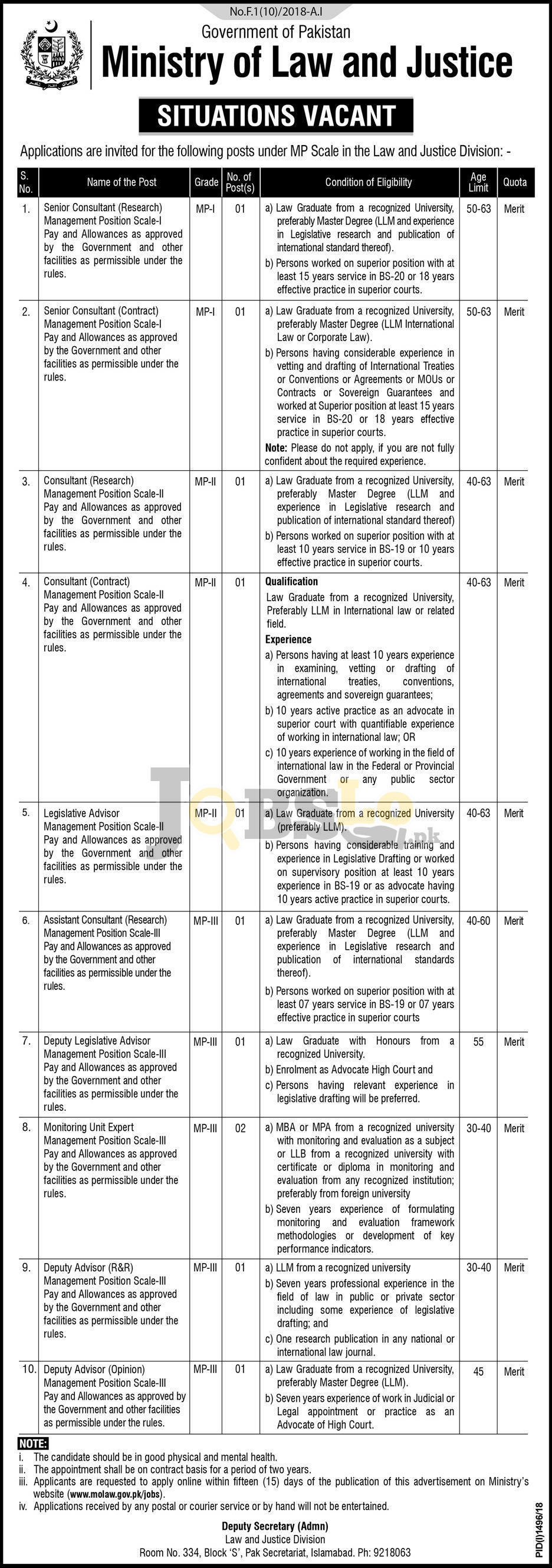 Ministry of Law and Justice Jobs 2018 Apply Online Last Date | Govt of Pakistan