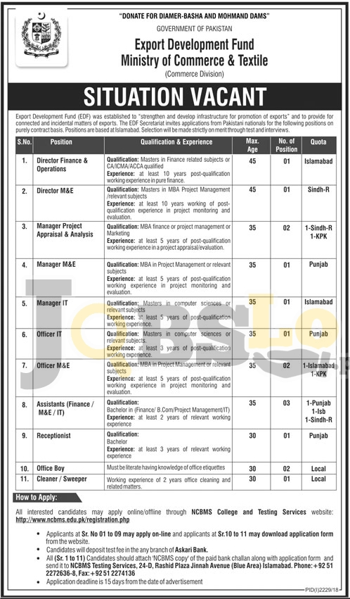 Ministry of Commerce and Textile Jobs Nov 2018 Apply Online Latest