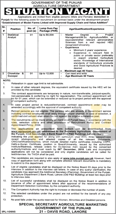 Agriculture Department Punjab Jobs Nov 2018 Lahore Latest Advertisement