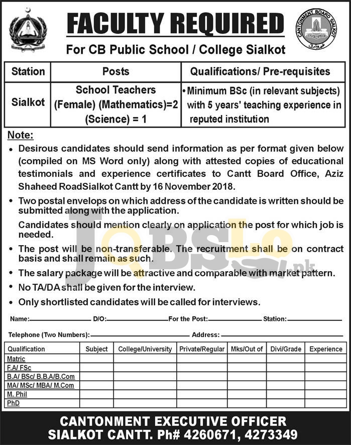 Cantonment Board Sialkot Jobs 2018 CB Public High School/College Latest For Teaching