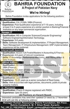 Bahria Foundation Jobs 2018 in Pakistan Navy Latest Career Opportunities