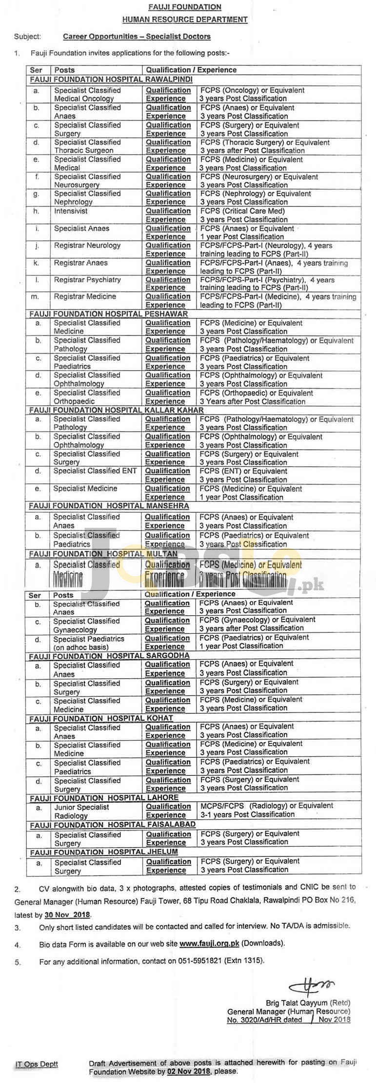 Fauji Foundation Jobs 2018 Human Resources Department For Specialist Doctors