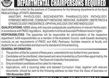 Ayub Medical College Abbottabad Jobs 2018 in Pakistan Latest