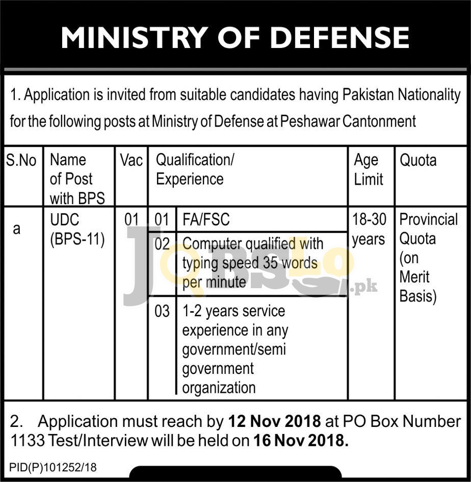 Ministry of Defence Jobs 2018 Peshawar Cantonment Latest For UDC